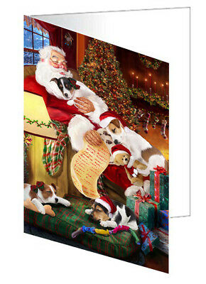 Jack Russell Dogs with Santa 10 Greeting Cards