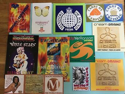 Rave Flyers Joblot Bundle X 12 (Rare Original 1990's Flyers Tickets Ibiza)