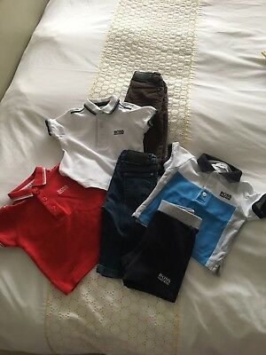 Baby Boys 6 Month Hugo Boss Bundle, Trousers, T Shirts, Shorts And T Shirt