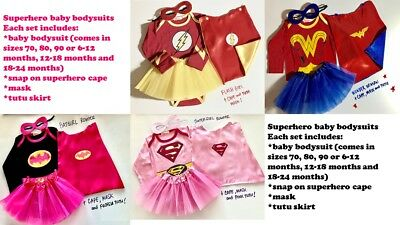 Superhero baby bodysuits supergirl batgirl marvel tutu cape mask