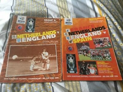 Euro 96 England Football Programme Bundle - Netherlands/Spain - Quarter Final