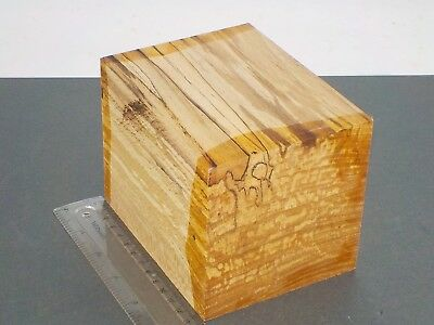 English Spalted Beech wood turning or carving blank.  103 x 103 x 130mm. 1369