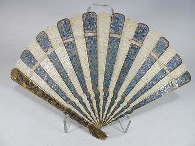 Chinese export silver fillgree and enamel fan D7601