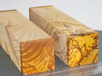 2 English Spalted Beech wood turning or carving blanks.  50 x 50 x 205mm. 1372