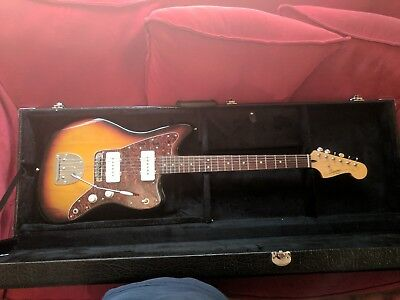 Squire jazzmaster, with hardcase, graphtec saddles plus spare Mustang bridge