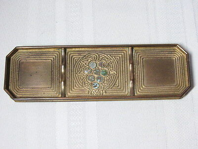 Tiffany Studios, Abalone Pen Tray, Gold Patina, All Abalones Intact, Very Nice~~
