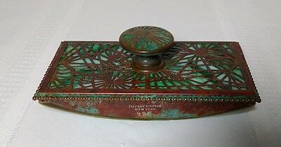 Tiffany Studios, Pine Needle Rocker Blotter, Beaded Border, Green Glass, Patina~