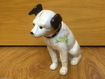 "HMV Dog Money Bank GLASS EYES 6"" Cast Iron Nipper Gift Ornament"