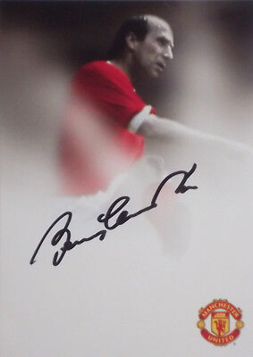 Bobby Charlton signed Manchester United Postcrad with Stas to reverse Autograph