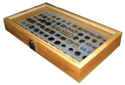Natural Wood Glass Top Lid Grey Cufflinks Jewelry Display Storage Box Case