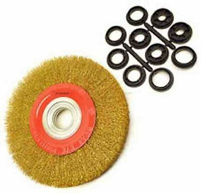 6 inch 150mm Fine Wire Brush Wheel for Bench Grinder with 10pc Adaptor Rings