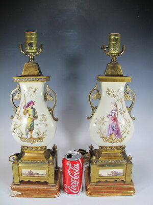 Antique French pair of porcelain & bronze lamps # D7698