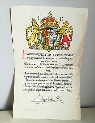 Vintage Ww2 Evacuee Royal Letter Of Thanks Elizabeth Queen Mother Home Front