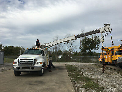 2007 Ford F750 Terex 47' Digger Derrick Flatbed Utility Boom Truck Diesel Cat AC