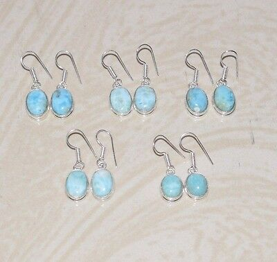 5Pcs Wholesale Lot!! 925 Silver Plated Natural Larimar Gemstone Earrings