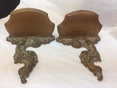 Pair Of Antique Style Old Carved Wood And Syroco  Plateaus