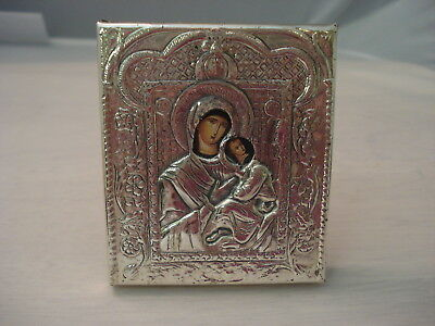 Vintage Icona Argento 925 Sterling Silver Madonna and Child Icon
