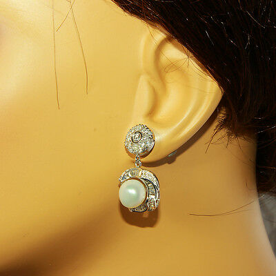 3.95 Carat Natural Diamond 14K Solid White Gold Pearl Earrings