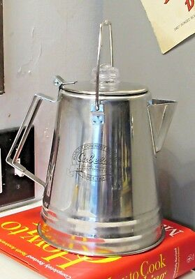 Cabela's Stainless Steel Campfire Coffee Pot Maker 9 Cup Flip Top Hanger Retired