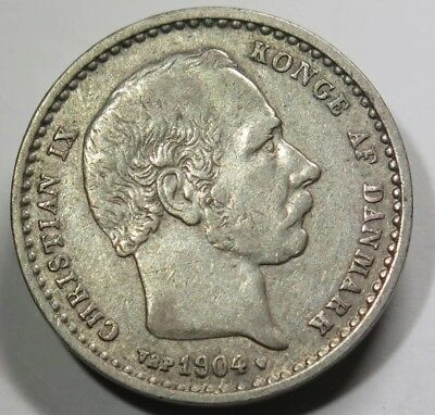 1904 DENMARK 25 ORE Silver coin High Conditions