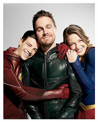 ARROW-THE FLASH-SUPERGIRL (S. AMELL, G. GUSTIN & M. BENOIST)--Glossy 8x10 Photo