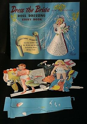 Vintage 1940's/50's 'Dress The Bride' Doll Dressing Story Book-Cut Out Figures