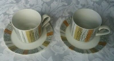 "Vintage Midwinter ""sienna"" (2  Coffee Cans And Saucers)"