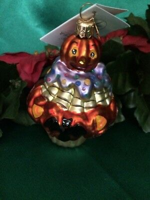 TREATS ON SWEETS ORNAMENT Jack O' Lantern Clown on Cup Cake.  CHRISTOPHER RADCO