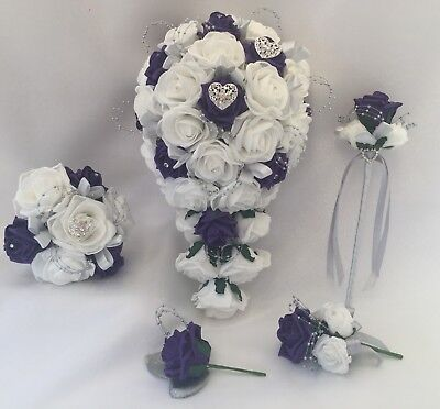 0358489f4 Wedding bouquet PURPLE Ivory Rose flowers Bride Bridesmaid Flower Girl Wand  posy