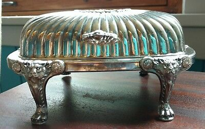 Vtg Rogers Silver Co. Silverplated Roll Top Lion Footed Butter Dish Glass Insert