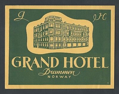 Grand Hotel DRAMMEN Norway - vintage luggage label (1)