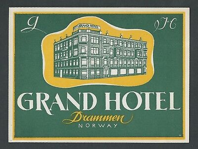 Grand Hotel DRAMMEN Norway - vintage luggage label (2)