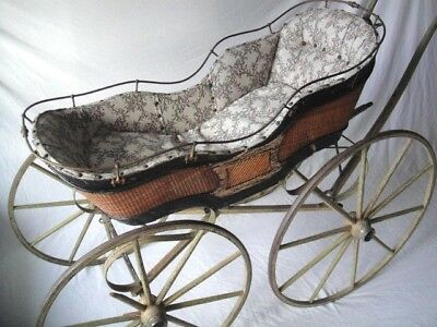 Antique ~ 1800's Wicker Baby Carriage