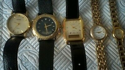 3 ,gents And 2, Ladies Watches ,ingersol,accurrist,citizen,seconda All Need Batt