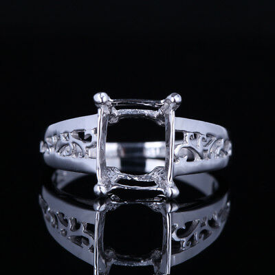 Solid 14K White Gold 10X8Mm Square Antique Engraving Semi Mount Unique Fine Ring