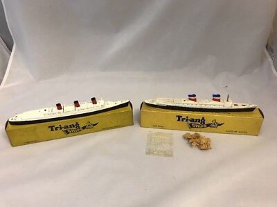 Triang Minic Ships 1:1200 Scale   SS UNITED STATES  And QUEEN MARY Superb Boxed