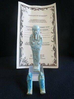 Egyptian Faience Ushabti with inscription Collection. Late Kingdom 663-525 BC.