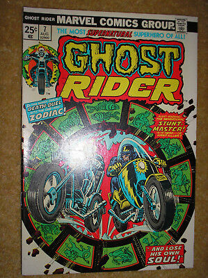 GHOST RIDER # 7 STUNT-MASTER ZODIAC MOONEY 25c 1974 BRONZE AGE MARVEL COMIC BOOK