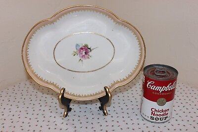 Antique Derby Porcelain Bowl, Hand Painted Rose, Gold Gilt, Puce Mark, ca 1865