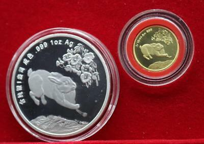 China 12 Zodiac Silver Coins + 24K Gold-plated Gold Coins - Year of The Rabbit