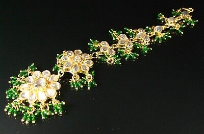 Indian Bollywood Style Gold, Green & Clear Cabochon Tikka Head / Hair Piece (21G