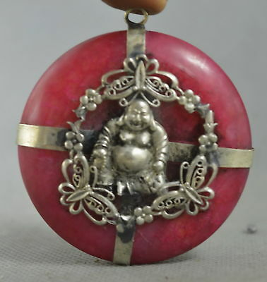 Collectable Handwork Old Miao Silver Carve Buddha Inlay Agate Auspicious Pendant