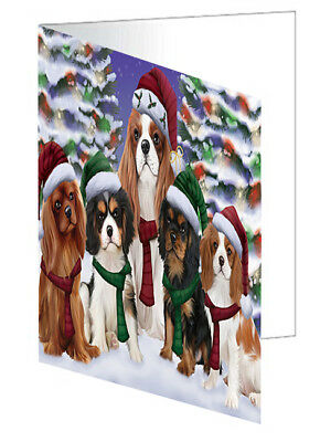 Cavalier King Charles Spaniel Christmas Scenic Background 10 Greeting Cards