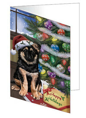 Christmas German Shepherd Dog with Tree and Presents 10 Greeting Cards