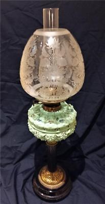 Antique Victorian Duplex Art Nouveau Oil Lamp Stunning Beehive Shade