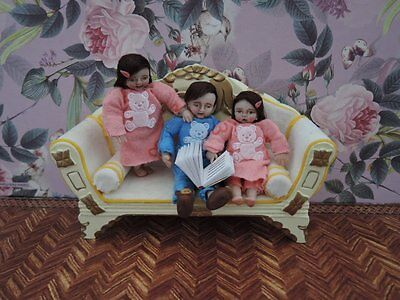 Miniature OOAK Handmade 1/12 scale dollhouse realistic siblings twins doll 1:12