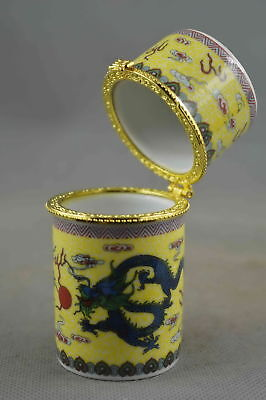 Collection Decorative Handmade Porcelain Paint Ancint Dragon Lucky Toothpick Box
