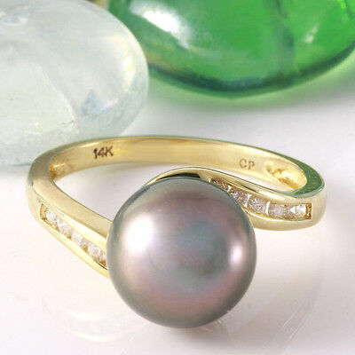 0.20 Carat Natural Diamond 14K Solid Yellow Gold Pearl Ring