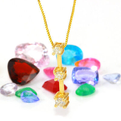 0.33 Carat Natural Diamond 14K Solid Yellow Gold Pendant Necklace