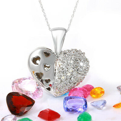 1.50 Carat Natural Diamond 14K Solid White Gold Heart Pendant Necklace